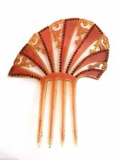 3 Antique 1920s Celluloid Hair Combs MANTILLA Amber with Red Rhinestones Black
