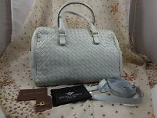 Authentic Bottega Veneta Woven Nappa Baby Blue Speedy 3 Way Shoulder Bag T216