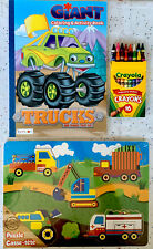 Giant Coloring & Activity Book, TRUCKS, 16 Ct. Crayola Crayons, Wood Puzzle-NEW