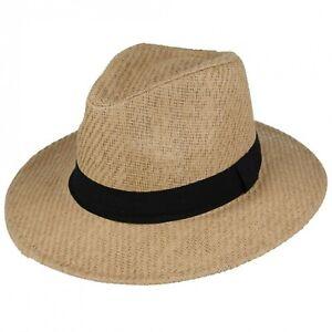 Straw Fedora Sun Hat - Panama Trilby Style Mens Ladies 2 Sizes