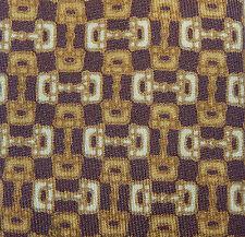 Gucci Handsome Vintage Chain Link Harness Brown Tones Silk Skinny Neck Tie