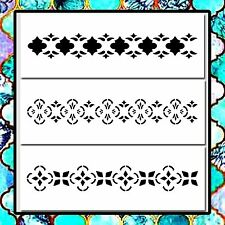 Set of 3 MOROCCAN/Floral Pattern Border STENCILS 4 X 11 each Airbrush/Craft