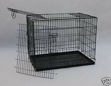 36 Black3 Door Folding Suitcase Dog Crate Pet Cage Cat Kennel  Metal Pan