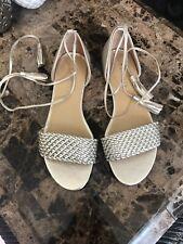 talbots Flats Sandals  7 M Gold Ankle Cuffs Tie Straps New