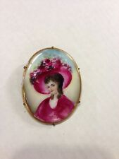Antique Victorian Hand Painted Portrait Brooch Pin So Nice!