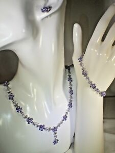 NATURAL  BLUE VIOLET TANZANITE-WHITE TOPAZ ,925 SILVER,14K GOLD PLATE SET   #421