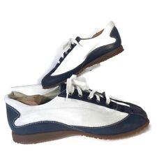 Hogan Italian Leather Bowling Shoes White Blue Suede Stripe Mens Size Eu 41 Us 8