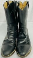 Justin 3133 Mens 8 D Cowboy Boots Black Leather  Western Ranch Roper USA