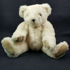 """Vermont Teddy Bear 15"""" Plush Jointed Blue Eyes Cream Suede Paws Made in USA"""
