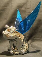 Flying Pig Mascot with Blue Illuminated Wings-Chrome Plated Car Bonnet Mascot