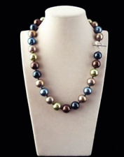AAA Rare 12mm Genuine Multicolor Round South Sea Shell Pearl Necklace