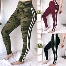 Women Sports Long Trousers Camo Yoga Stripe Leggings  Gym Ladies Stretchy Jogger