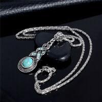 Fashion Women Turquoise Crystal endant Choker Statement Necklace Chain Jewelry