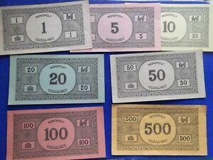 Vintage Monopoly money set of 7 1935 replacement game pieces collectable old