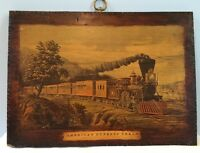 "Antique American Express Train 11""x15"" Laminated On Original Wood Plaque Rare!"