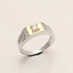 Solitaire White Topaz BRZ Ring 925 Sterling Silver Women Wedding Fine Jewelry AA