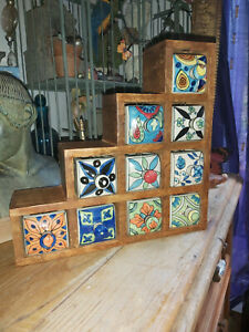 HANDMADE IN INDIA MANGO WOOD SPICE/TRINKET CHEST WITH 10 CERAMIC DRAWERS
