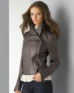 Heidi Klum by Jordache Motocross Leather Jacket Lambskin Zip Grey Size S $475