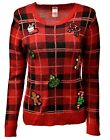 Women's GINGERBREAD MAN Holiday Party Ugly Christmas Xmas Sweater Sz S 4-6 A888