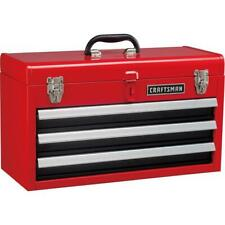 Portable 20.5-in Ball-bearing 3-Drawer Red Steel Lockable Tool Box