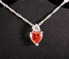 Silver Red Heart Gemstone Pendant Necklace w/Free Jewelry Box and Shipping