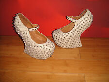 *67* SUPERB JEFFREY CAMBELL NUDE LEATHER PLATFORM STUDDED SPIKE SHOES  UK 4