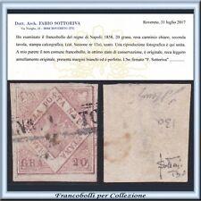 ASI 1858 Napoli 20 gr. rosa carm. n.13a Certificato Usato Antichi Stati Italiani