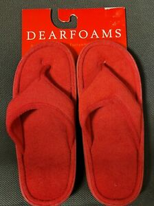 Dearfoams Women's Red Slippers Size 9 US New Ships priority mail.