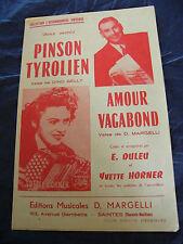 Partitur Tiroler Pinson Amour Vagabond Yvette Horner Edouard Duleu
