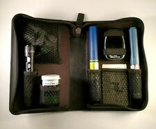Large BLACK leather case for diabetic insulin cartridge pens & testing supplies