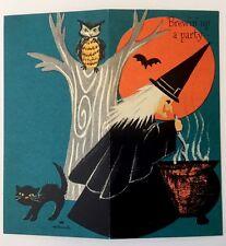 NOS Vintage HALLOWEEN Party Invitation Witch Caldron Bat Black Cat Owl HALLMARK