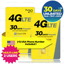 (2x) Usa 30Day Unlimited Data Talk Text At&T Travel Prepaid Sim Card 10Gb 4G H2O
