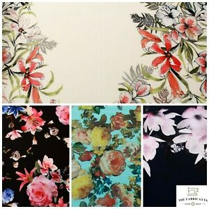 """Floral Rose Leaves Spring Tropical Scuba Jersey Stretch Fabric, High Quality 60"""""""