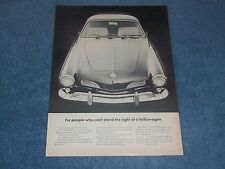 """1964 VW Karmann Ghia Vintage Ad """"For People Who Can't Stand The Sight..."""""""