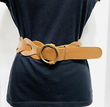 "Hollister Brown Braided Geuine Leather 2 1/4"" Wide 46"" Long Women's Belt Sz M/L"