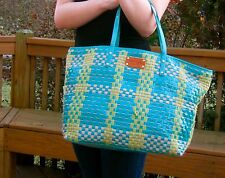 "Kate Spade ""Bay Street"" Aqua Blue Green Woven Patent Leather Tote Satchel Green"