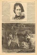 Queen Victoria, Widow Symons Highland Cottage, 1868 Original, Antique Art Print,