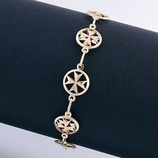 Amalfi Malta MALTESE CROSS Jewellery Hallmarked 9ct 9k Gold Bracelet Genuine 375