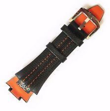 Seiko Sportura Watch Band Strap Orange Stitched Genuine Leather SNA595 SNJ011P2