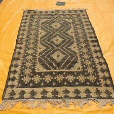 Vintage Afghan Nomadic Kilim Handwoven Area Rug 5x8 Brown Jute Kelim Carpet