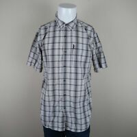 The North Face Gray White Short Sleeve Button Front Zip Pocket Plaid Shirt Men L