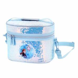Disney Authentic Frozen Anna & Elsa Silver Sequin Holographic Lunch Box Tote Bag