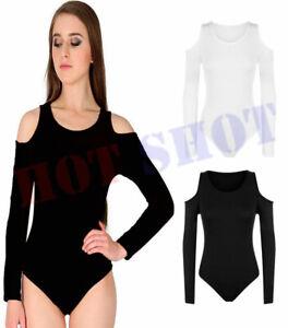 Ladies Cold Cut Off Shoulder Plain Bodysuit Womens Long Sleeve Leotard Top Dress