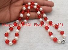 Natural Red Ruby Gemstone Necklace 18'' Aaa Real 7-8mm White Akoya Pearl & 8mm