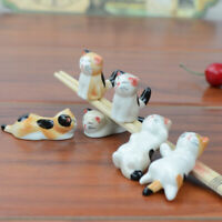 6x Ceramic Lucky Cat Chopstick Rest Rack Spoon Holder Party Tableware Cutlery