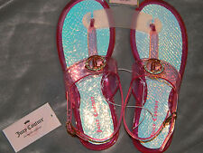 NWT-JUICY COUTURE Pink Fuschia T-Strap Rhinestone Sandals SIZE M (7-8)