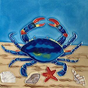 Blue Crab Shells Beach Starfish Decorative Wall Art Ceramic Tile 8x8 New