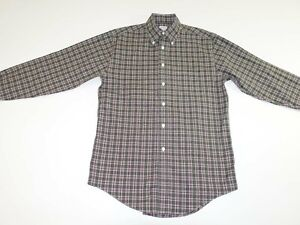 Brooks Brothers Men's Non Iron Button Front Shirt Small Green Red White Check S