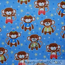 BonEful FABRIC FQ Cotton Quilt Blue Brown White MONKEY Baby Star Nursery Banana