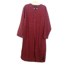 Brooks Brothers sz M Red Plaid Cotton Flannel Night Shirt Long Sleeve 1/2 Button